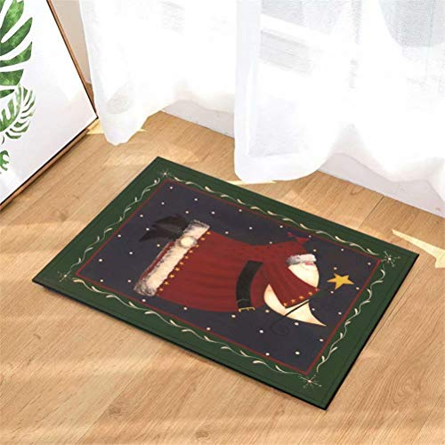 N-brand Alfombra de Puerta Alfombra Interior.Ducha Alfombras de Entrada de baño Alfombras Felpudo,Puerta de Entrada.Entradas de Piso, 40 x 60 cm.Santa Claus con Una Varita Mágica.