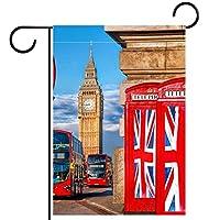 ホームガーデンフラッグ両面春夏庭屋外装飾 12x18in,欧州連合の電話ブースを去る英国の投票