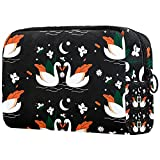 Tropical Toucan, bolsa de cosméticos para mujeres y niñas, multifuncional, adorable, espaciosa bolsa de aseo de viaje, organizador de accesorios, Swan Black Pattern, 18.5x7.5x13cm/7.3x3x5.1in,