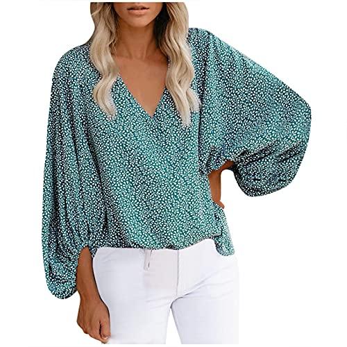 Blusa para mujer con cuello en V y mangas sueltas para verano