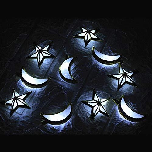 shuai Fairy Lights,Moon Star LED Fairy Lights Oil Festival Lights Ramadan Islamic EID Party Decoration 1.65M 3M Festive Atmosphere (Color : Pure White, Size : 3M)