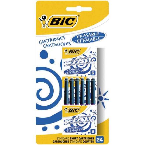 BIC Cartouches d'Encre Courtes Standard pour Stylos-Plume - Bleu Effaçable, Blister de 24