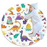 JHKHJ Alfombra para niños círculo, alfombra colchas, utilizado en la familia dormitorio sala de juegos decoración del suelo dinosaurios lindos volcanes 70x70cm