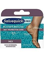 Salvequick ® | Blister Rescue Mix 6 |Skavsårsplåster med hydrogelinnovation för att skydda blåsor och förhindra tryck | 3 + 3 enheter för 360 ° skydd