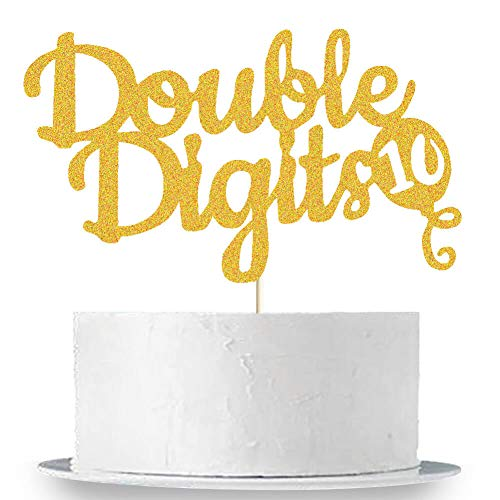 Double Digits Cake Topper, 10th Birthday Cake Topper, Double Digits Tenth Birthday Party Cake Supplies Decorations