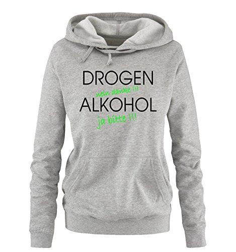 Comedy Shirts - Drogen - Nein Danke - Damen Hoodie - Grau/Schwarz-Neongrün Gr. L