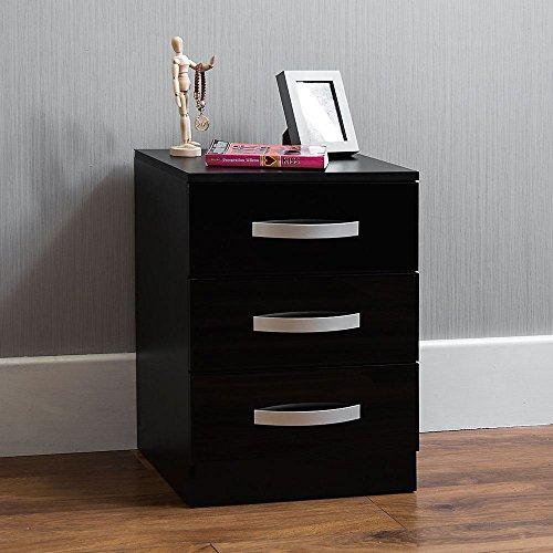 Vida Designs Hulio hoogglans ladekast zwart Modern design 56 x 40 x 36 cm Zwart