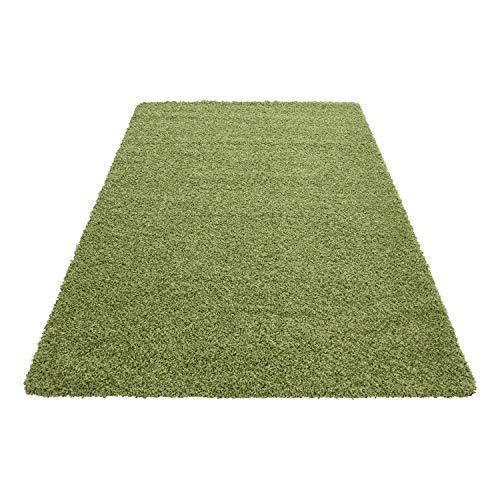 Teppich Hochflor Shaggy Teppich Unicolor einfarbig Teppich farbecht Pflegeleicht, Maße:60 cm x 110 cm, Farbe:Grün