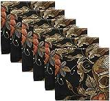 BONRI Juego de 6 servilletas de Tela de poliéster con Bordado gótico con Calavera Humana y Flor de Rosa para el día de los Muertos, servilletas de poliéster Lavables para Mesa de comedor20 X20