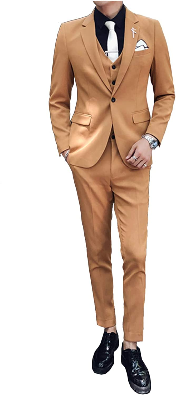 Men's 3 Piece Wedding Suit Slim Fit Notch Lapel Blazer Jacket Single Breasted Vest Pants