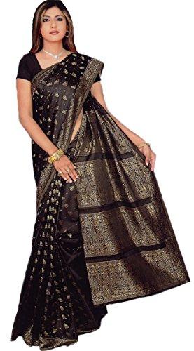 Trendofindia Indischer Bollywood Fashion Sari Stoff Damenkostüm Kleid Schwarz CA108