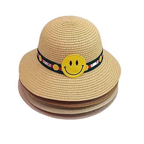 Lanly - Sombrero de paja para niños y niñas, plegable, protección UV, para la playa, verano, cara sonriente