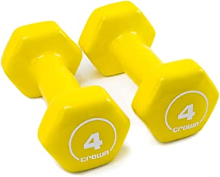 Crown Sporting Goods Brightbells Vinyl Hex Hand Weights, Spectrum Series I: Tropical - Colorful Coated Set of Non-Slip Dumbbell Free Weight Pairs - Home & Gym Equipment