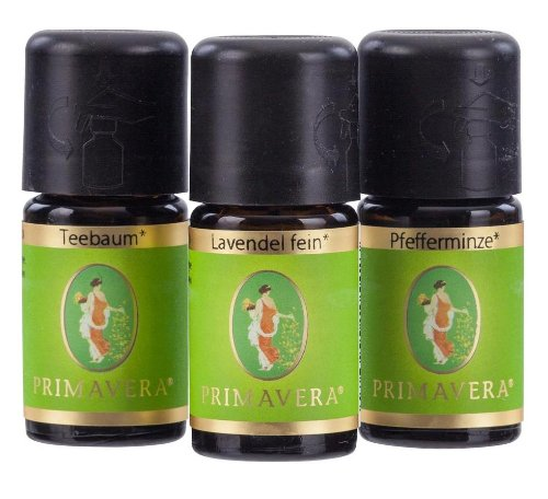 PRIMAVERA LIFE Teebaumöl 5ml + Lavendel fein 5ml + Pfefferminze 5ml Aromatherapie - Set