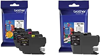 $61 » Brother Printer LC30173PK High Yield XL 3 Pack Ink Cartridges- 1 Ea: Cyan/Magenta/Yellow Ink & LC3017BK High Yield Black I...