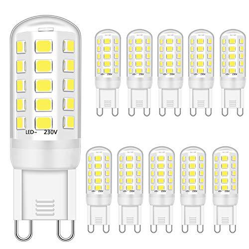 G9 LED leuchtmittel 3W Entspricht 28W 33W 40W Halogenbirnen, G9 LED Lampen Kaltweiß 6000K, G9 Glühbirne , G9 Fassung LED Lampen, Kein Flackern, Nicht dimmbar, 400lm, AC 220-240V,10er Pack