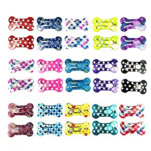 30 Pcs Puppy Cat Dog Hair Clips 1″ Min Bone Clips Multicolor Dog Topknot Bows Dog Grooming Bows Pet Supplies Dog Bows Dog Hair Accessories