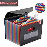 Magicfly Pochette Rangement Papier Administratif Trieur à Soufflets Classeur 24 Compartiments avec Couvercle A4...