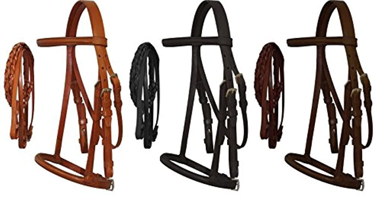 Horse Pony Cob Mini Leather English Bridle with Raised Browband, Braided Leather Reins, and Adjustable Caveson.