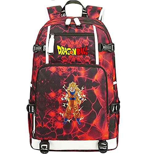 ZZGOO-LL Dragon Ball Son Goku/Torankusu Anime Backpack Middle Student School Rucksack Daypack for Women/Men with USB-B