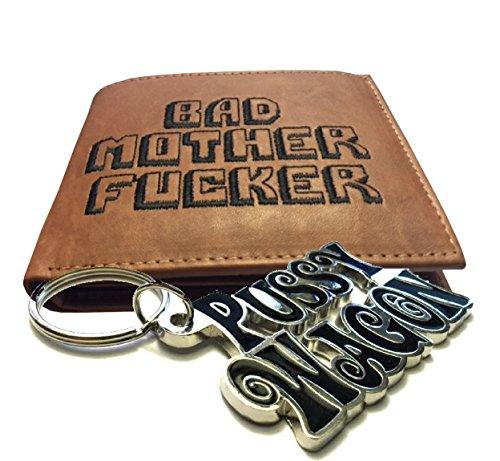 """Bad mother Fucker, portafoglio nero con scritta """"Pussy Wagon"""" portachiavi Combo"""