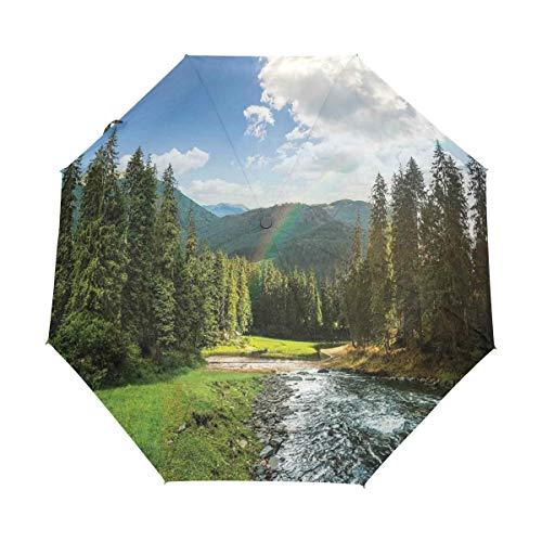 SUHETI Regenschirm Taschenschirm,Flussufer fließender Berg mit sonnigen Kiefern und Regenbogenwolken,Auf Zu Automatik,windsicher,stabil