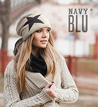 NavyBlu/® langes Slouch Beanie M/ütze in Feinstrick mit Teddyfleece Innenfutter Sternstrass dunkelgrau M024