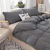 Softta Twin XL Bedding Grey Duvet Cover 3 Pcs Boho Fringed Vintage and ShabbyTassel and Ruffle Bohemian Quilt Cover 100% Washed Cotton Baby Teen Girls Bedding