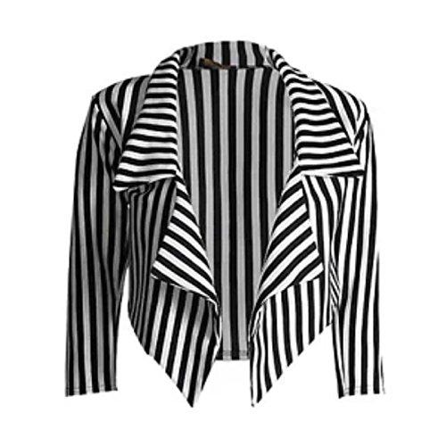 Janisramone Damen lässig schwarz weiß gestreift abgeschnitten Wasserfall Blazer Jacke Mantel