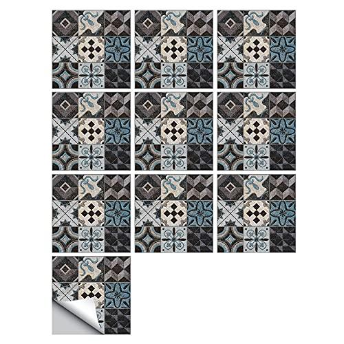Pegatinas para azulejos de mármol, patrón de ladrillo, impermeables, autoadhesivas, autoadhesivas, retro, cuadradas, para decoración de muebles de cocina, baño, 20 cm x 20 cm x 10 unidades