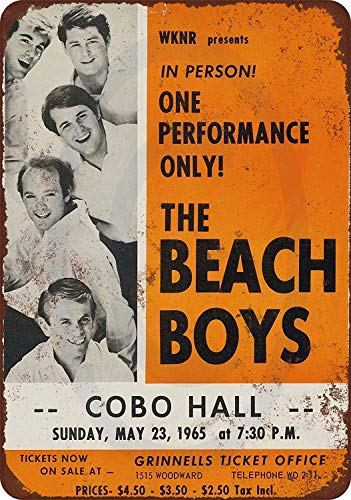 Cartel de metal de aluminio retro 1965 Beach Boys In Detroit Iron Poster Painting Me Beer Metal Tin Sign 8 x 12 pulgadas
