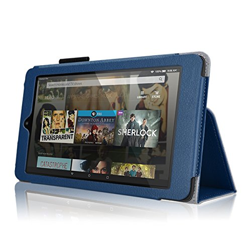 "Case for Fire HD 8 - Premium Folio Case with Stand for The 6th Gen Fire HD 8 with 8"" Display (Fire HD 8, Dark Blue)"