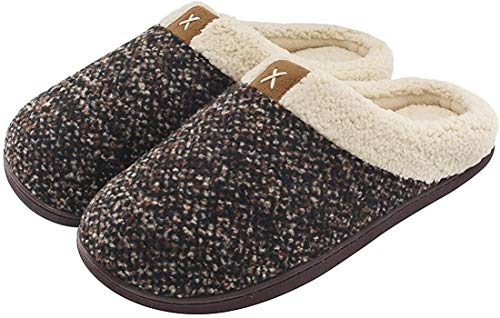 ULTRAIDEAS Men's Cozy Memory Foam Slippers with Fuzzy Plush Wool-Like Lining, Slip on Clog House Shoes with Indoor Outdoor Rubber Sole(Brown,11-12)
