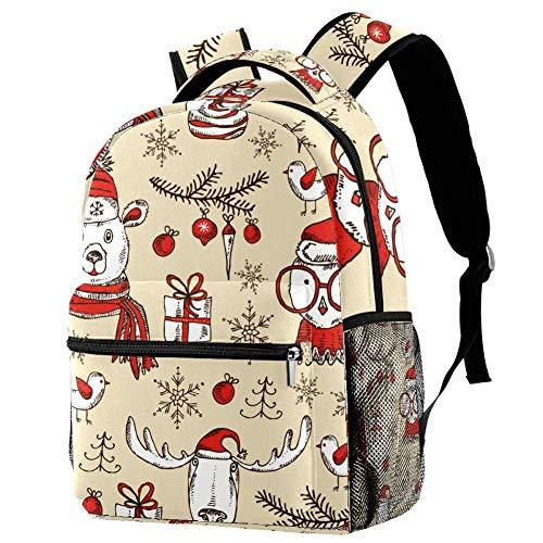 New Year and Christmas Elk Owl Bear Backpack Students Shoulder Bags Travel Bag College School Backpacks