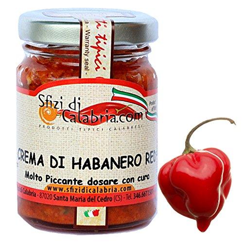 Crema di Peperoncino Habanero Rosso 92% Vaso in vetro 90gr Red Piccantezza Micidiale Salsa Piccante