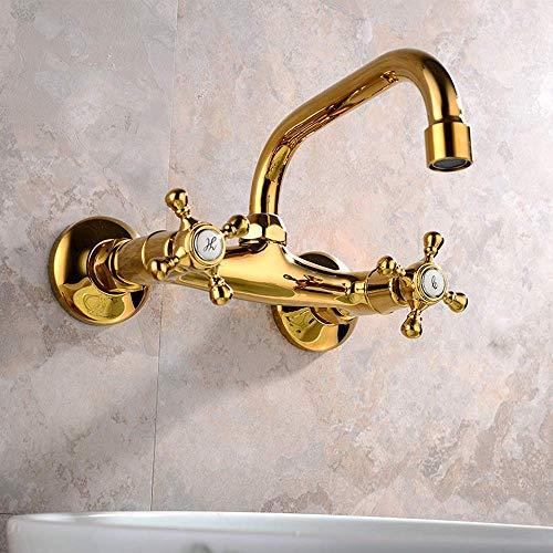 LSNLNN Grifos, Grifos Ajuste de Agua Fría Y Caliente Grifos de Cocina Baño Calor Frío Oro Todo Bronce Grifo de Agua Girar
