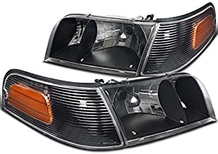 Spec-D Tuning 2LCLH-VIC98JM-EU Ford Crown Victoria Crystal Black Headlights+Clear Amber Corner Lamps