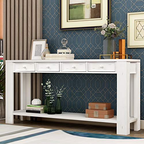 Narrow Console Table Sofa Table with Storage Drawers and Bottom Shelf Wooden for Living Room Hallway Entryway White