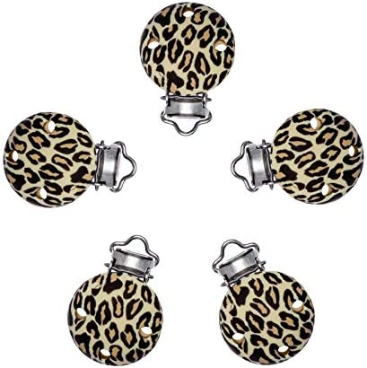 Baby Teething Accessories Set 5pc Silicone Universal Pacifier Clips BPA Free Chewable Leopard product image