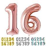 Ponmoo Foil Globo Número 16 61 Oro Rosa, Gigante Numeros 0 1 2 3 4 5 6 7 8 9 10-19 20-29 30 40 50 60 70 80 90 100, Grande Globos para La Boda Aniversario, Globo de Cumpleaños Fiesta Decoración