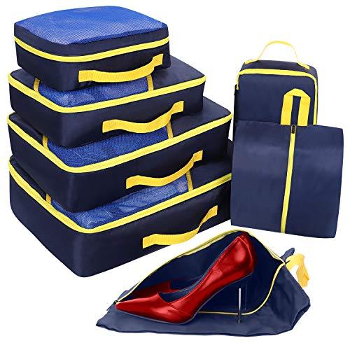 Set di 7 Organizer Valigie, Cubi per Valigia, Faxsthy Viaggio Dei Bagagli Organizzatore per i Vestiti Scarpa Cosmetico (Bleu_+ jaune)