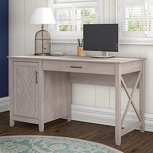Bush Furniture Key West Collection 54W Single Pedestal Desk in Washed Gray