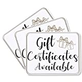 'Gift Certificates Available' Store Sign for Businesses (7 x 5.5 In, 3 Pack)