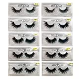 Kellyroom 3D/4D/5D Faux Mink False Lashes Pack of 10 Pairs Individual Package Natural Thick Dramatic Volume Fake Eyelashes (5 Styles)