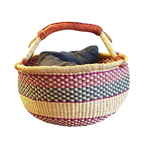 Original Afrika Einkaufskorb Geflochten |Bolga Einkaufskorb | Handarbeit | Bolga Korb