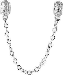 Colgante de cadena de corazón de plata de ley 925 con