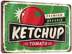 Bargburm Ketchup Juicy Tomato Retro Sign Tin Art Wall Decor Vintage Aluminum Metal Sign Iron Painting Vintage Decorative Signs Coffe Wall Decoration