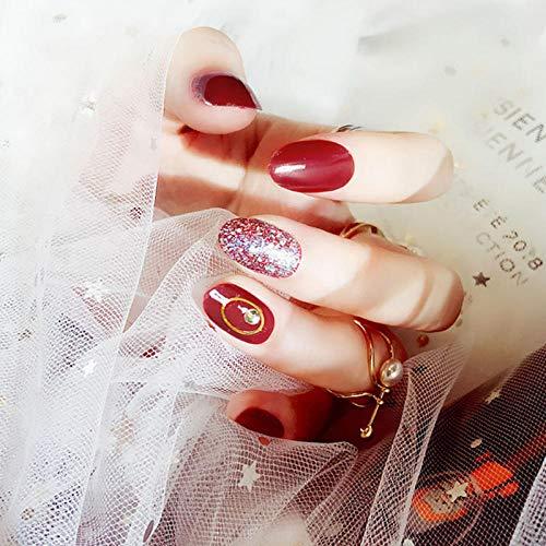 CSCH Künstliche Nägel 24 Stück/Karton Nagellack Finished Glitter Diamond False Nail Press auf dem roten runden kurzen False Nail der Braut