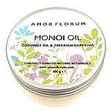 ACEITE MONOI con ACEITE DE COCO Y GARDENIA TAHITIANA - 100 g - por AMOR FLORUM - CONDICIONA Y HIDRATA Piel y cabello. Refresca, hidrata y suaviza la piel seca. Fortalece uñas y cutículas quebradizas.