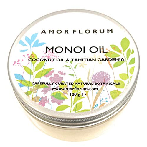 MONOI Öl mit KOKOSÖL & TAHITIAN GARDENIA - 100g - von AMOR FLORUM - BEDINGUNGEN, FEUCHTIGKEITEN und NÄHREN Haut und Haare. Kein zusätzliches Parfüm.